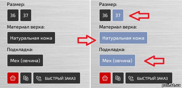 Выбор параметров заказа